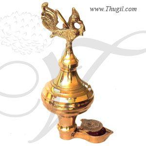 "9"" Annam Bird Diya Standing Brass Thoondamani Thudamani Villaku Diyas Puja"