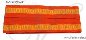 Pure Cotton Orange Angavastram used along with Dhoti Dothi Puja Festivals Wedding