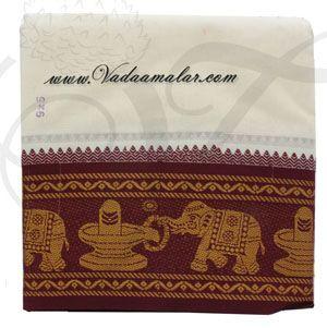 6.2 meters/ 9 x 5  yards Hindu Puja Half White Colour Cotton Dothi Dhoti Vesti Chadar