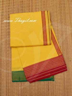 4 Meters Hindu Puja Yellow Colour Cotton Dothi Dhoti Vesti Chadar