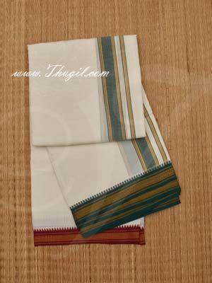 Hindu Puja Half White Colour Cotton Dothi Vesti Chadar 1.8 Meter Buy Now