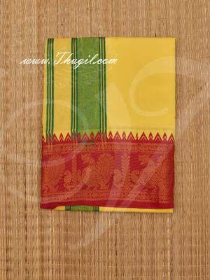 2 Meters Hindu Puja Yellow Colour Cotton Dothi Dhoti Vesti Chadar