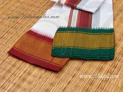 1.80 Meter Hindu Puja White Colour Poly Cotton Dothi Dhoti Vesti Chadar Buy Now