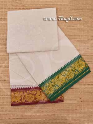 6.2 meters/ 9 x 5  yards Hindu Puja Half White Colour Cotton Swan Dhoti Buy Now