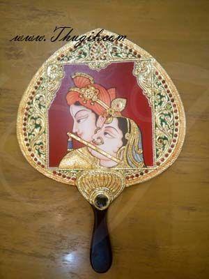 Tanjore Desing Hand Visiri Wedding Fan Pankha HandMade Unique