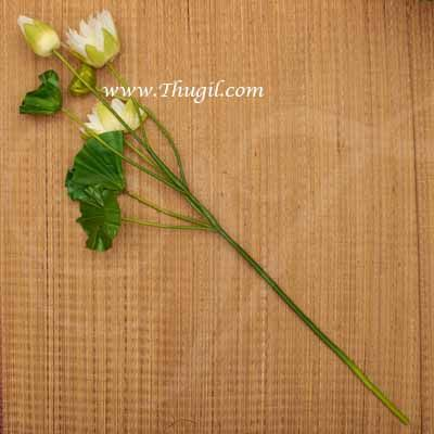 Lotus flower with stem and leaves white colour Artificial Plants Buy Now