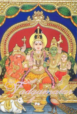Tanjore Painting of Lord Shivan Parvathi family Picture Gift Photo Card