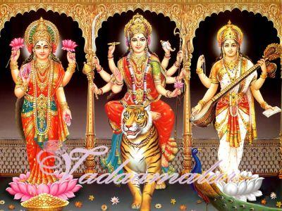 Goddesses Durga, Lakshmi and Saraswathi Picture Gift Photo Card
