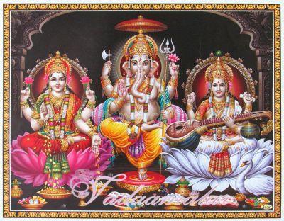 Lord Ganesha, Goddess Lakshmi and Saraswathi  Picture Gift Photo Card
