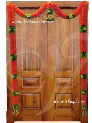 Decorative orange and Green garland Door decoration Synthetic flowers- washable