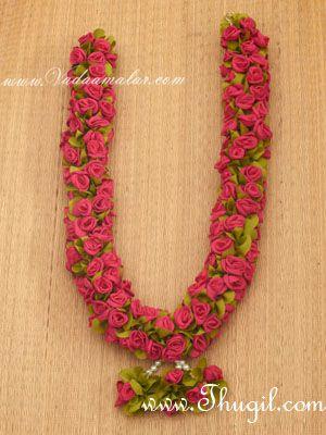 "24"" one side Pink Color Wedding synthetic rose garlands maala garland - 1 piece"