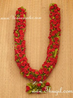 """24"""" one side Red Wedding synthetic rose garlands maala available - 1 piece"""