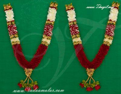 """24"""" Wedding garland synthetic rose petal and jasmine garlands maala"""