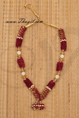"""16.5 """" Artificial Garlands Maroon Color Synthetic Cloth With Beads Mala"""