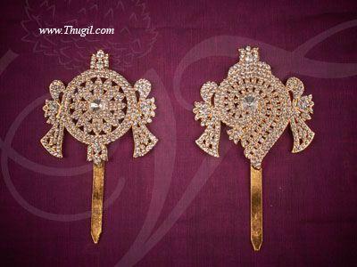 "6"" Buy Online Shanku chakra PERUMAL ornaments Vishnu Balaji Deity Ornament Decoration for Temple"