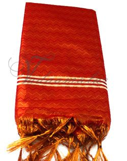 1.6 meters Red Gold Tissue Wrap Poly Cotton  Shawl Gift Stole for Guests Murthi Deity