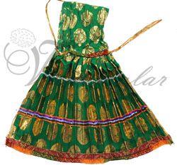 Green & gold color skirt pavadai for Amman Durga Devi Shakthi idols