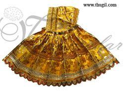 Yellow & gold color skirt pavadai for Amman Durga Devi Shakthi idols