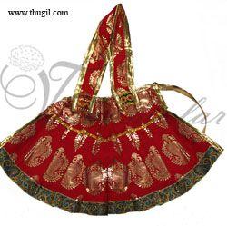 Red & gold color skirt pavadai for Amman Durga Devi Shakthi idols