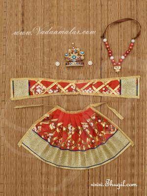 8-10 inch Idol Skirt Pavadai Deities Idol Shingar dresses Temple Altars