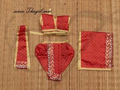 """4""""-6"""" Radha Krishna Murthi Idol Costume Dresses and Accessories"""