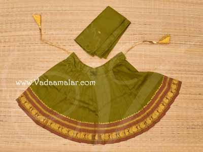 Costume Deity Saree Skirt for Kalasam decoration Hindu Goddess for Statues 11 Inches Green