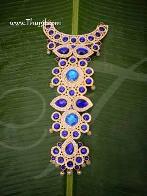 Centre Piece Necklace Blue Color Swamy Decoration Haram for GOD 14 Inches Buy Now