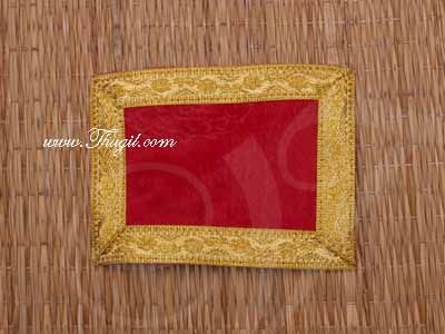 Red with Gold Border Velvet Puja Aasan / Pooja Mat / God Cloth for Pooja Buy Now