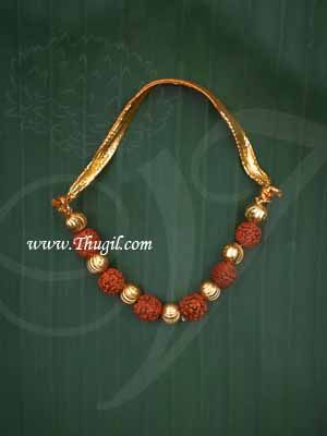 Small size Deity Rudraksha with Gold Beads Necklace Jewellery Ornament for Lord Shiva