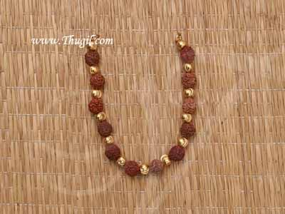 """4"""" Small size Deity Rudraksha with Gold Beads Necklace Jewellery Ornament for Lord Shiva"""