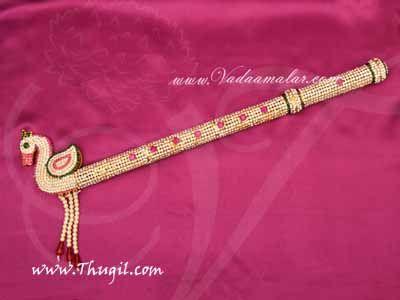 "Lord Krishna Flute Jewellery Bansuri With Stones God Buy Online18"""