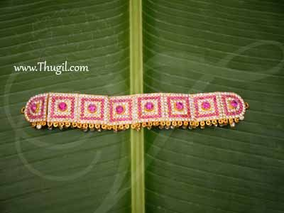 Oddiyanam White and Pink Colour Stone Waist Hip Belt Jewellery For Deity Buy Now