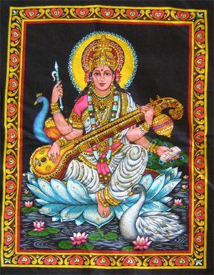 Goddess Saraswati poster on unframed cloth printed