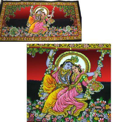 Lord Krishna & Radha poster on unframed cloth printed