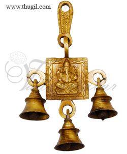 Decorative brass metal maa Lord Ganesha hanging bells