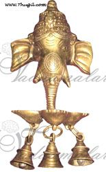 Ganesha with Bells  Ganesh Hindu God India Brass Home Decorations