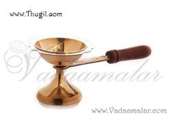 """9"""" long Aarti Dhoop Brass Wooden Handle"""