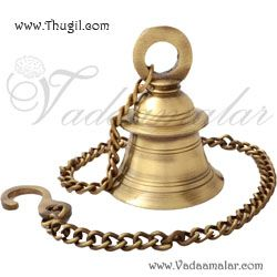 Ethnic brass  hanging bell with chain