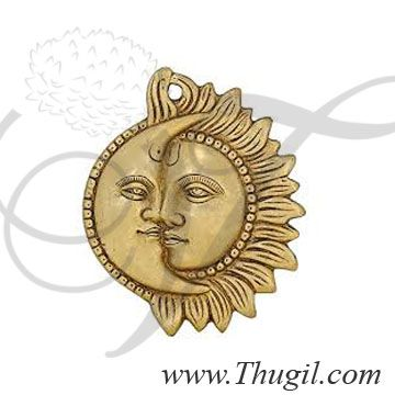 Wall Hanging Brass Figrine Sun and Moon Sclupture For Home Decor Indian