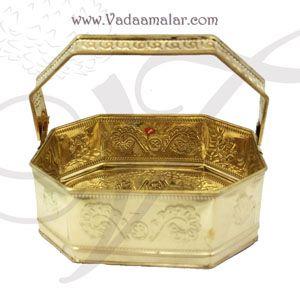 Brass Flower Basket For Puja Poola Sajja