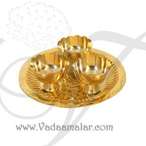Brass Pooja Sandal wood cups Plate Festival Set
