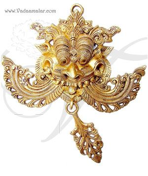 """11"""" Wide Brass Yali Face Temple Gaurdian Metal Decorative Wall Hanging Protect Evil's Eye Buy"""