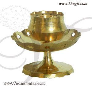 2.5 inches Flower Design Brass Agarbatti Stand Incense Holder Buy Online