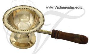 Aarti Sambrani Dhoop Dhoobakkal Brass Wooden Handle Buy now