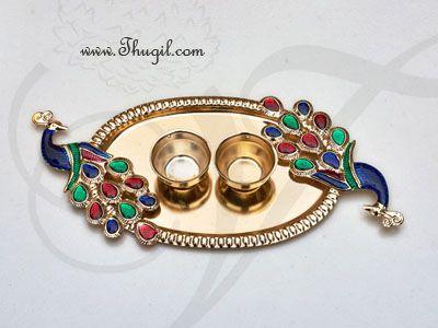 Diwali Navarathri Peacock Design Pooja Thali Metallic Finish