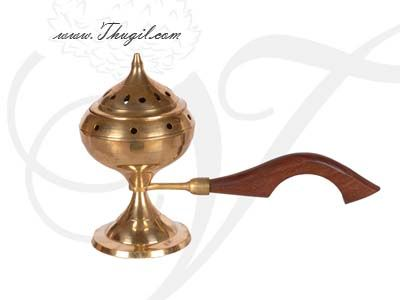 """9"""" Brass Sambrani Dhoop Stand Wooden Holder Buy Now"""