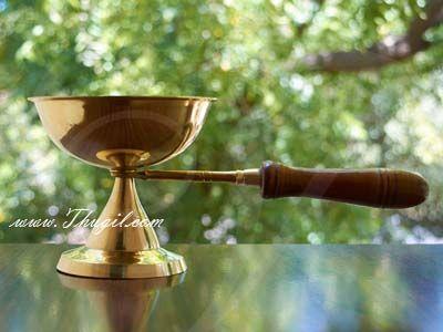 """Aarti Dhoop Brass Wooden Handle Buy Now 4"""""""