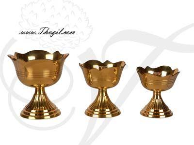 Swastika Jyoti Small Brass Diyas in Flower Modle