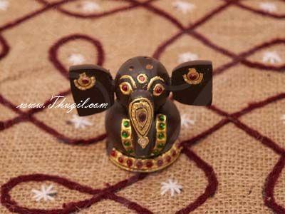 "3"" wooden incense sticks holder Gold Foil Tanjore works Elephant design Unqiue Indian Gifts Buy Now"