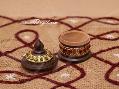 """3"""" Kumkum holder with Gold Foil Tanjore works Unqiue Gifts"""